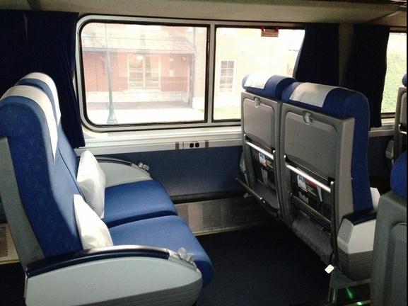 Big comfy seats on Amtrak