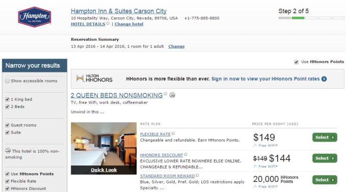 20,000 Hilton Honor points per night in April - Carson City, NV