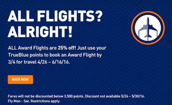 25% off award flights through 3/4