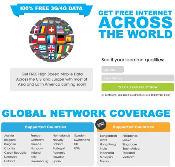 Countries where you can use your free 200mb of data