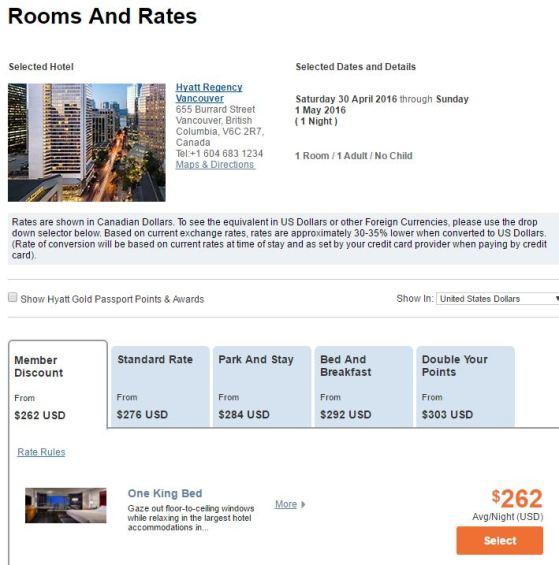 Hyatt Regency in Vancouver is 12,000 points per night or $262