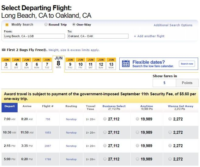 Oakland to Long Beach for $49 or 2,200 points one-way