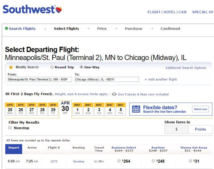 $31 cash for the same flight from MSP to MDW
