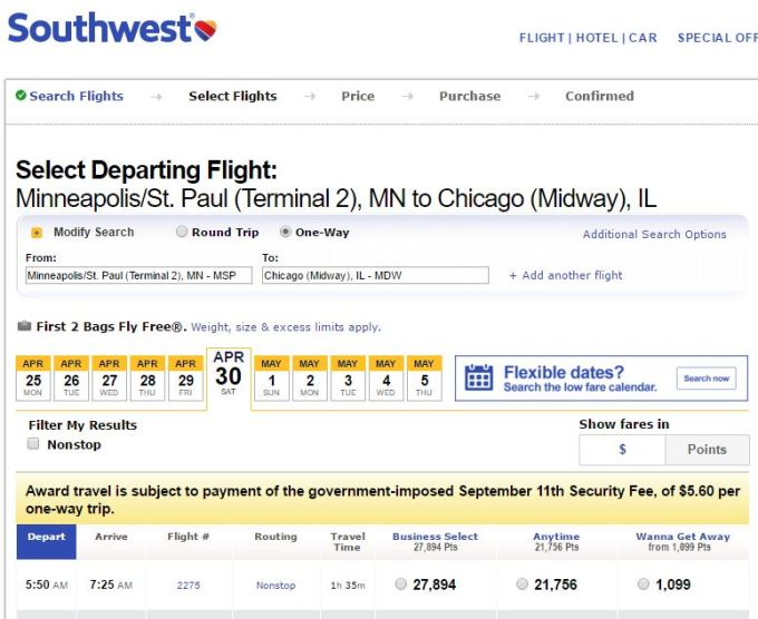 1,099 Souhwest Points from Minneapolis to Chicago