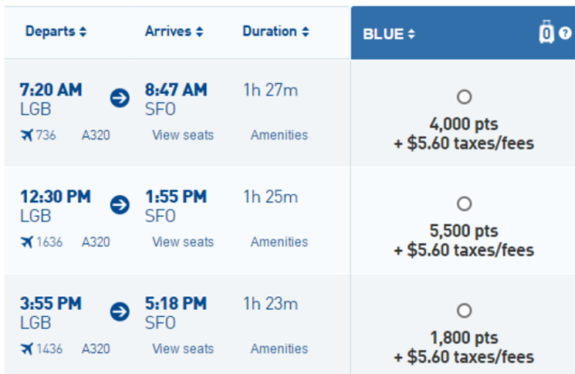 1,800 JetBlue points from San Francisco to Long Beach (L.A.)