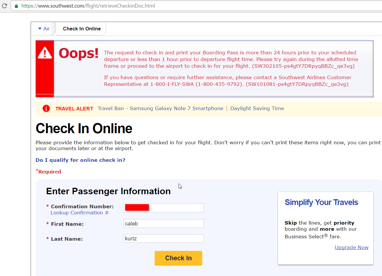 Don't Make This Mistake When You Check-in on Southwest | milestothemax