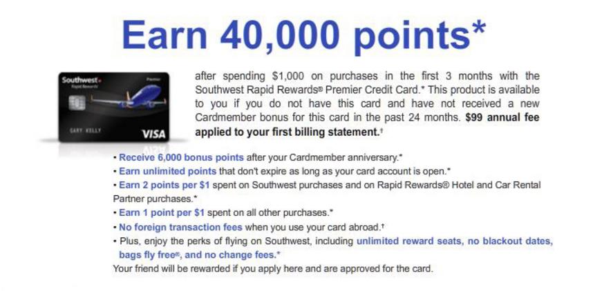 This Southwest Credit Card Sign Up Bonus Requires Only $1,000 Minimum Spend – 40,000