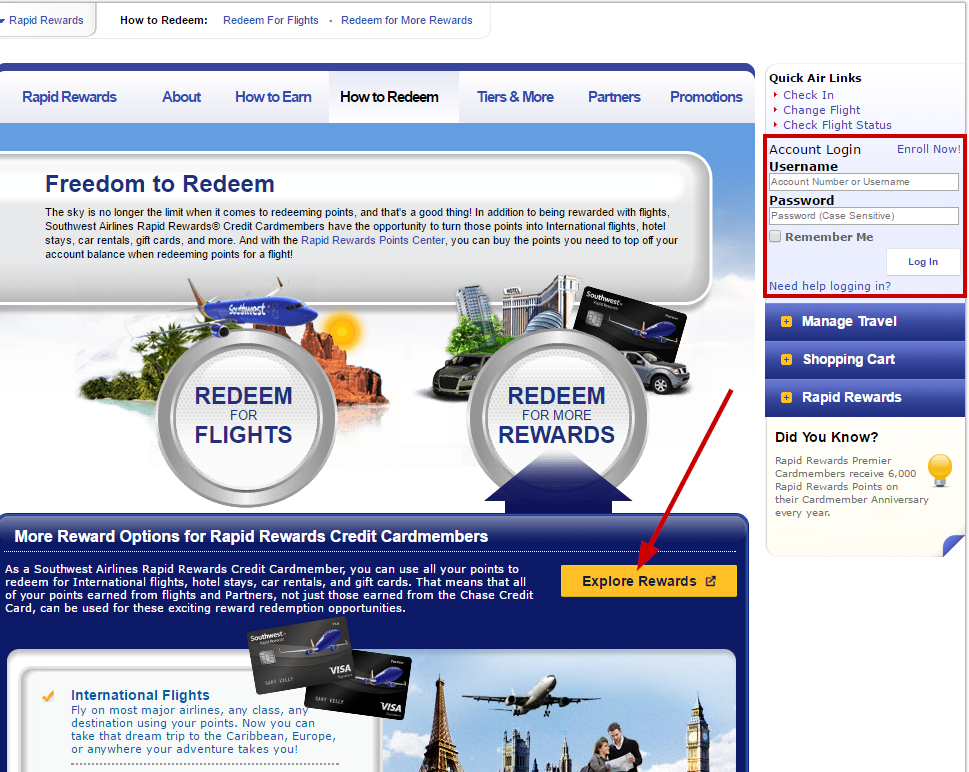southwest airlines rapid rewards login